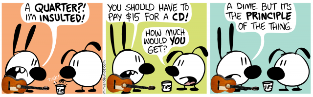 a quarter i'm insulted / you should have to pay $15 for a cd! how much would you get / a dime but it's the principle of the thing