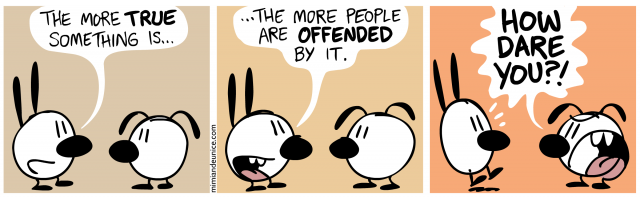 the more true something is / the more people are offended by it / how dare you