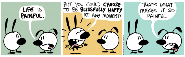 life is painful but you could choose to be blissfully happy at any moment